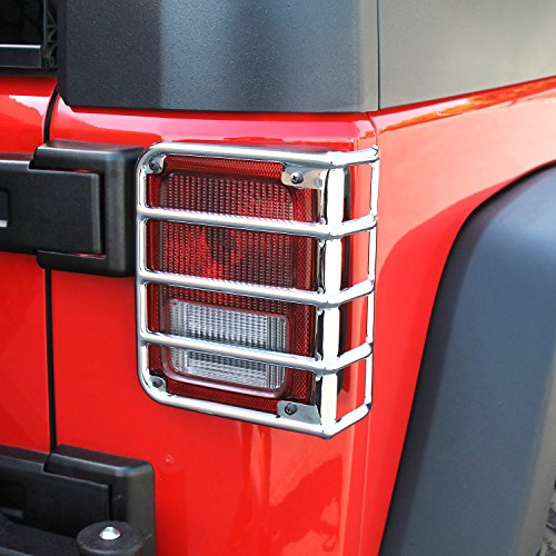 E-Autogrilles Rear Tail Light Guard Covers Chrome Euro Stainless Steel for 07-17 Jeep Wrangler JK – Pair (51-0461)