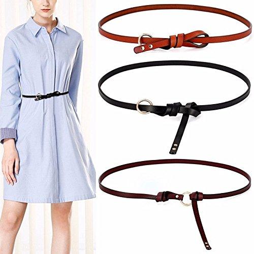 Mince Décoration Mode Boucle Ronde De Ceinture Avec Un Cuir Robe Nouée Ceinture Femme Bleu Blanc