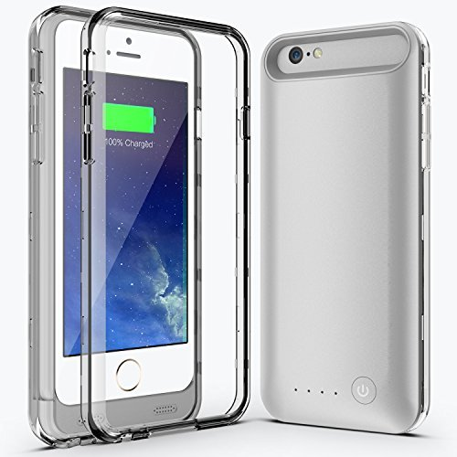 Niubity iphone 6 Plus 6S Plus Battery Case Apple Mfi Certified Extra Battery External Removable Rechargeable Protective Charging Case with 4000mah (Silver)