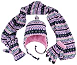N'Ice Caps Girls Sherpa Lined Fair Isle Printed Fleece Hat/Scarf/Mitten Set (7-10 Years, Black Fair Isle - Glove)