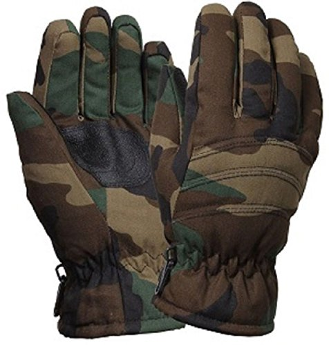 Black Mechanics Style Gloves (Black & Camouflage Military Thermoblock Tactical Insulated Hunting Gloves)