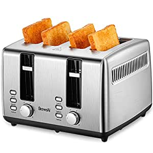 Brewsly Tostadora - 1700W Tostadora Automática de Ranura Larga, 4 Rebanadas de pan y 7 Niveles de Tostado, Función para Descongelar | Bandeja extraíble | Acero Inoxidable