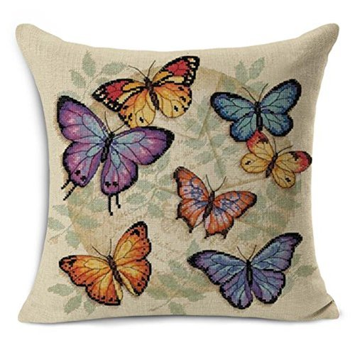 Decorative Butterfly Pillow - 18 X 18 Inch Colorful Butterfly Home Decorative Throw Pillow Case Cushion Cover