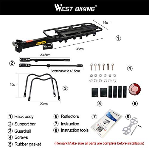 West Biking 110Lb Capacity Almost Universal Adjustable Bike Cargo Rack Cycling Equipment Stand Footstock Bicycle Luggage Carrier Racks with Reflective Logo by West Biking (Image #3)
