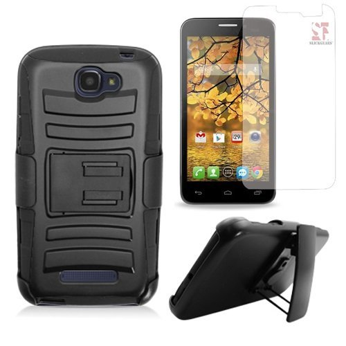 [SlickGearsTM] Heavy Duty Combat Armor Dual Layer Rugged Kickstand Belt Clip Holster Case for Alcatel OneTouch Fierce 2 7040T / OneTouch Pop Icon A564C (T-Mobile, Brightspot, Straight Talk, etc..) with Premium LCD Screen Protector (Black)