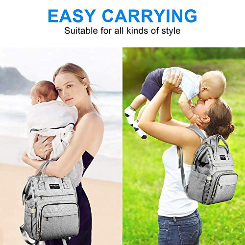 51JVLDBB8zL Diaper Bag Backpack, Mokaloo Large Baby Bag, Multi-functional Travel Back Pack, Anti-Water Maternity Nappy Bag Changing Bags with Insulated Pockets Stroller Straps and Built-in USB Charging Port, Gray    Product Description
