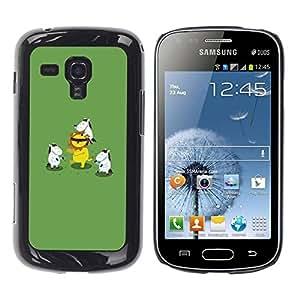 FECELL CITY // Duro Aluminio Pegatina PC Caso decorativo Funda Carcasa de Protección para Samsung Galaxy S Duos S7562 // Animal Cartoon Lion Green