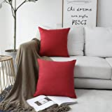 Decorative Pillow Cover - HOME BRILLIANT Linen Textured Decorative Pillow Covers Cushion Case Cover Sham for Sofa, 18x18, Pack of 2, Burgundy