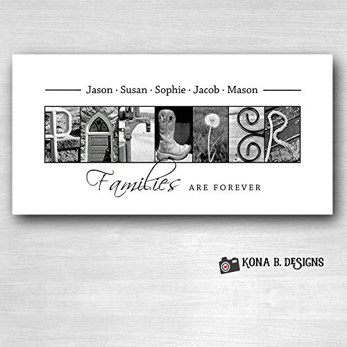 Personalized Family Gift - Creative Letter Art - Custom Alphabet photography - Photo Letter Art - Custom Name Sign - Family Sign- 10x20 Unframed (Picture Art Letter)