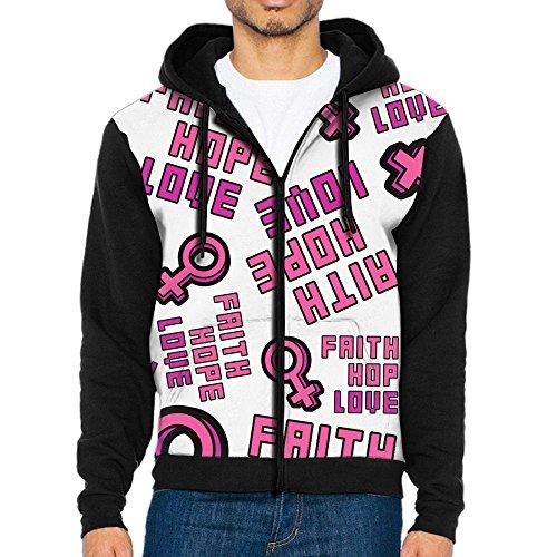 Breast Cancer Awareness Mens Basic Hoodies Full-Zip Jacket (Zip Hoodie Cancer)