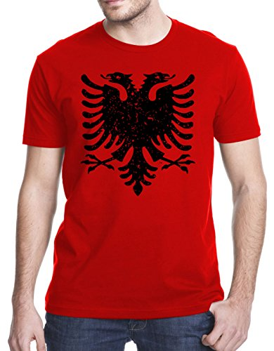 Albanian Eagle Grunge T-Shirt, Large, Red