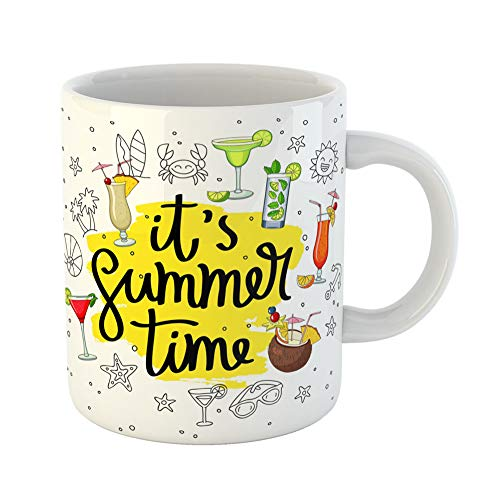 (Emvency Coffee Tea Mug Gift 11 Ounces Funny Ceramic Saying It Summertime Surrounded By Different Cocktails and Summer Pina Colada Gifts For Family Friends Coworkers Boss Mug)