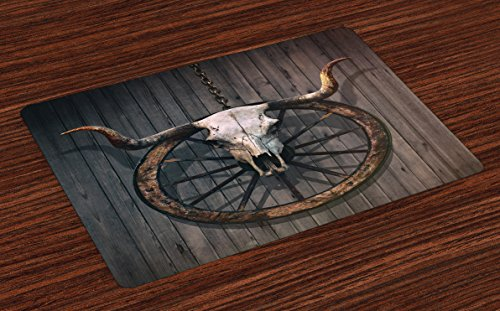 Ambesonne Barn Wood Wagon Wheel Place Mats Set of 4, Long Horned Bull Skull and Old West Wagon Wheel on Rustic Wall, Washable Fabric Placemats for Dining Room Kitchen Table ()