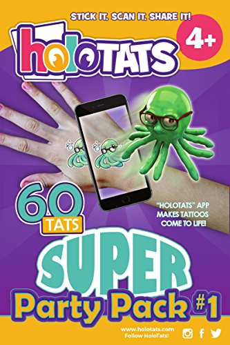 50% OFF HoloTats Super Party Pack #1 Holographic Augmented Reality Temporary Tattoos For Kids. Great For Kids Parties (Pack of 60)