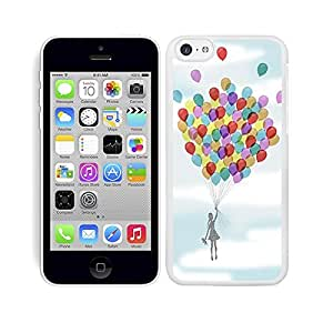 Funda carcasa para Apple iPhone 5C diseño niña con globos de colores borde blanco