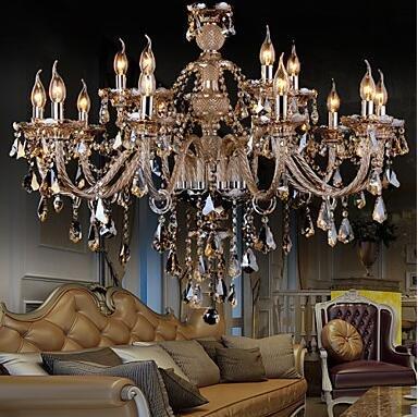 YanCui@ Chandelier Crystal Cognac Color Luxury Modern Fashion 2 Tiers Living 15 Lights , multi color-110-120v by YanCui Manufacturer (Image #4)