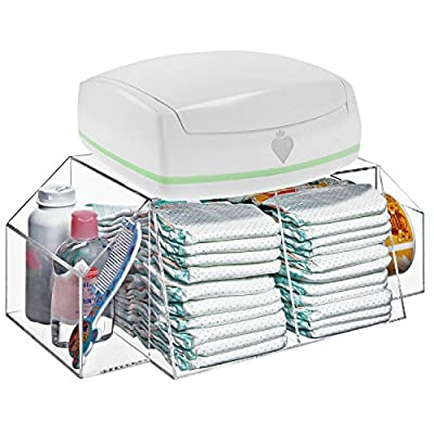 Deluxe Clear Acrylic Baby Changing Table Top Diapers & Accessories Storage Caddy / Baby Wipe Warmer Rack