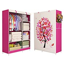 Qianle Clothes Wardrobe Portable Closet Rack Shelves Storage Cloth Organizer Red