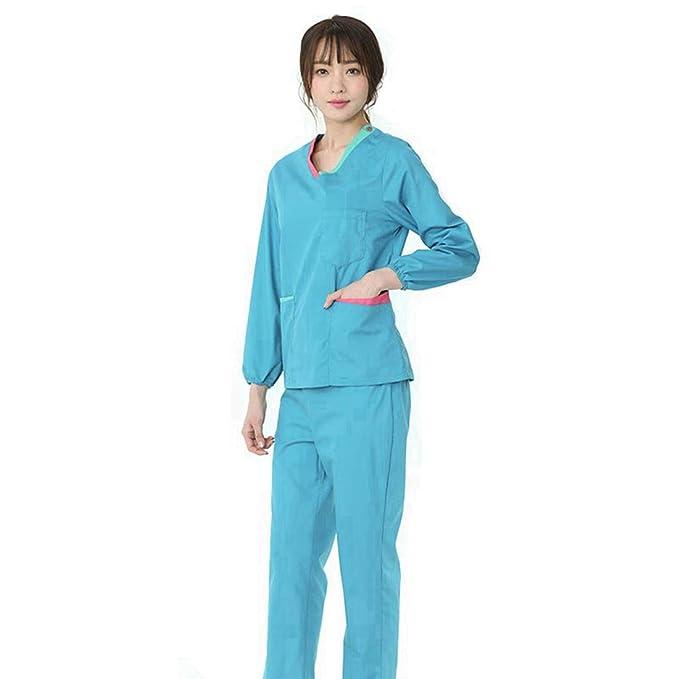 YUENA CARE Set de Uniforme Médico Profesional - Ropa Quirúrgica de Manga Larga para Mujeres Bata Médico Veterinario Laboratorio Enfermera Sanitaria: ...