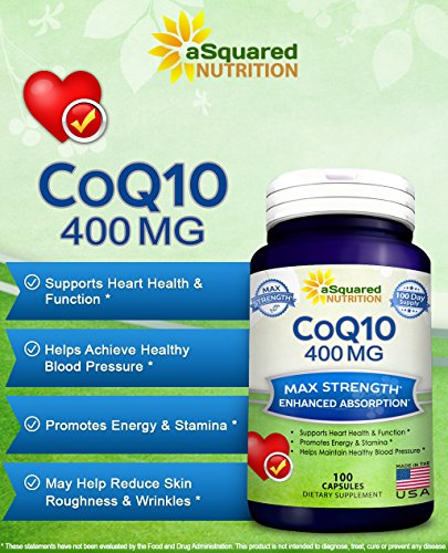 Pure CoQ10 400mg Max Strength 100 Capsules - High Absorption Coenzyme Q10 Ubiquinone Supplement Pills Extra Antioxidant CO Q-10 Enzyme Vitamin Tablets COQ 10 for Healthy Heart amp Blood Pressure Discount