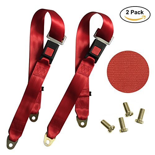 MOHEEN Universal Lap Seat Belt, 2 Point Adjustable Safety Harness Kit, for Go Kart/UTV/Buggies/Club Golf Cart/Van/VR/Truck/Bus/Cars and Vehicles, 54 Inch, 2 Pack in (Adjustable Safety Belt)