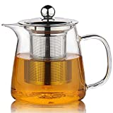 Moyishi Perfect Clear Glass Teapot with Stainless Steel Infuser & Lid, Pyrex Glass Teapots Stovetop Safe 750ml/26.5oz