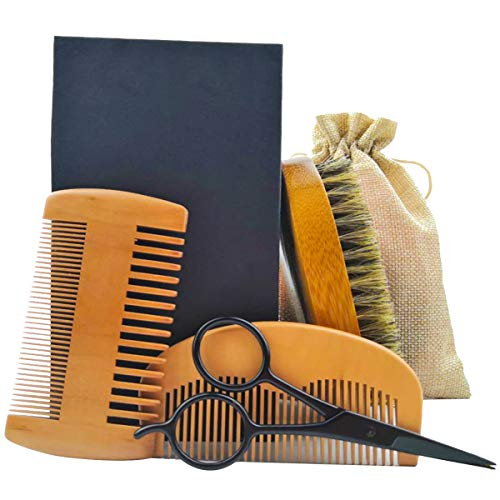 SYBF Beard Comb & Brush Set for Men Care,4-in-1 Beard Grooming Kit,Natural Boar Bristle Brush+Beard Comb+Dual Action Wooden Comb+Stainless Steel Mustache Scissors/Travel Bag,Great for Growth & Sty - Grooming 4in Comb 1