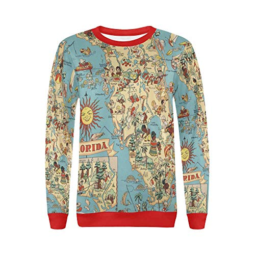 Vintage 1935 Florida State Map Women's Pullover Sweater -