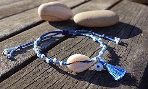(Blue and White Seashell Bracelet - Evil Eye Bracelet)