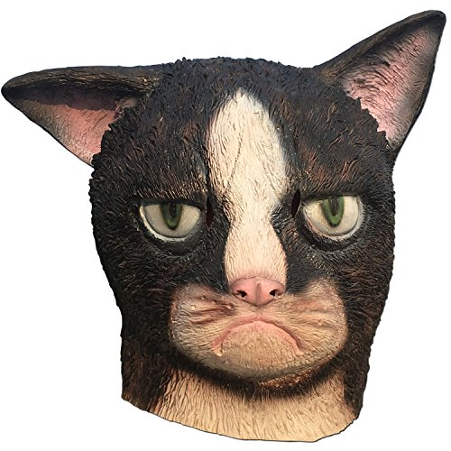 Dhakar Halloween Party The Unhappy Garfield Cat Latex MaskHead Cap (Black)