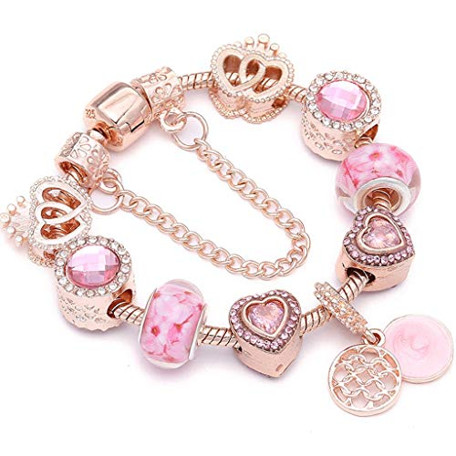 Gift for Girlfriend Metallic Color Crystal Beads Charm Bracelet For ladies With Boy; Girl Couple Fine Bracelets Lover Valentine's Gift Decoration