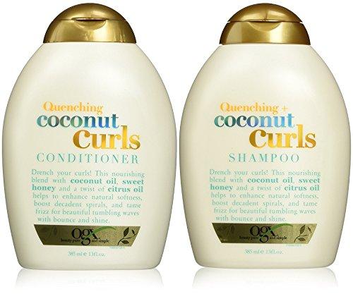 Curls Shampoo (Organix Quenching Plus Coconut Curls Bundle, Shampoo & Conditioner, 13 Ounce Each)