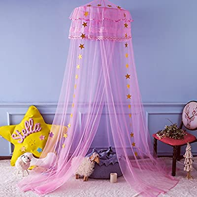 Twinkle Star Kids Mosquito Netting Princess Bed Canopy 3 Layers Lace Ruffle Dome for Baby, Girls