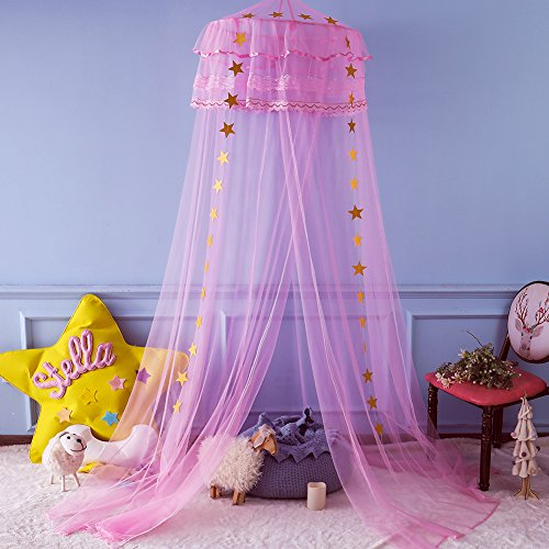 Twinkle Star Kids Netting Princess Bed Canopy 3 Layers Lace Ruffle Dome for Baby, Girls (Pink) (Girls Purple Bed Canopy)