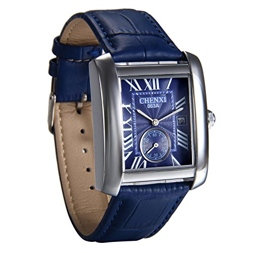 Avanver Mens Causal Vintage Roman Numeral Analog Blue Leather Strap Watch Second-Hand Calendar Quartz Wrist Square Watch