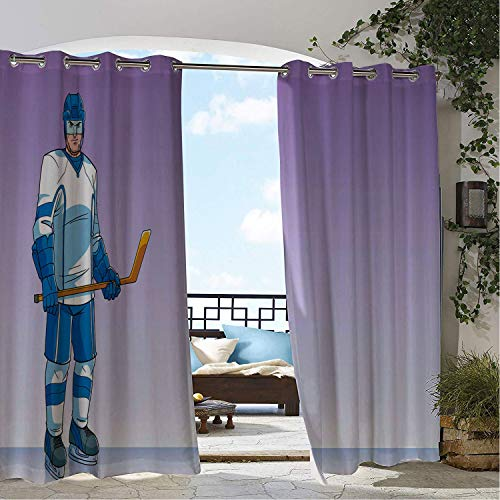 Hockey Signature Hockey Stick - Linhomedecor Outdoor Waterproof Curtain Ice Hockey Sports Cartoon Hockey Player Character Stick and Clothes Lavender Azure Blue and White doorways Grommet Free Curtain 72 by 72 inch