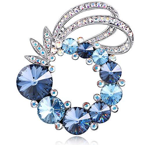 (RAINBOW BOX Brooches for Women Fashion,Blue Rhinestone Brooch Pin from Swarovski Crystal Jewelry, Brooch Pins for Mom Girlfriend Wife)