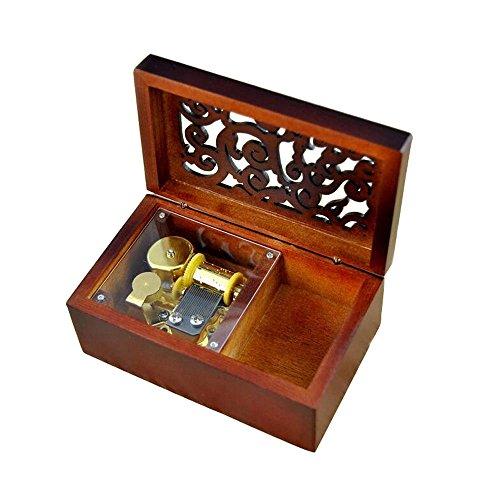 Grabado antiguo Wind-up Caja de música de madera, Lilium de Elfen Lied movimiento musical Box, con ornamentos en,...