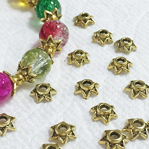 Beading Station 50-Piece Star Shaped Metal Bead Caps for Jewelry Making, 6mm, Antique - Bead Gold Metal Antique