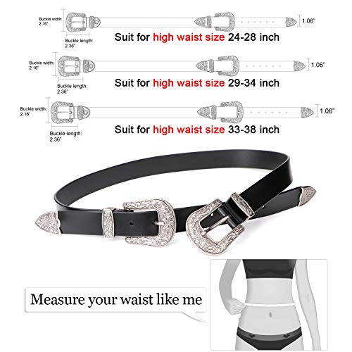 070c060b77 Women Leather Belts Ladies Vintage Western Design Black Waist Belt for  Pants Jeans Dresses