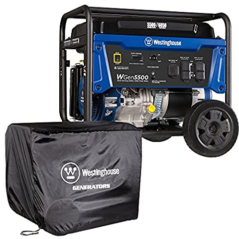 Westinghouse WGen5500 Portable Generator with Cover - 5500 Rated Watts & 6850 Peak Watts - Gas Powered - CARB Compliant - Transfer Switch (Power Gas Generator)