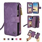 iPhone 8 Case, Cornmi Leather Wallet Case 14 Card Slot Wristlet / Shoulder Strap Flip Stand Zipper Purse Detachable Magnetic Case for iPhone 8