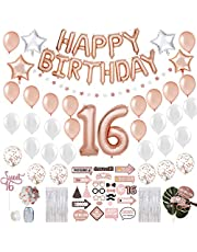 Sweet 16 Party Supplies WITH Photo Booth Backdrop and Props -Rose Gold Sweet 16 Decorations - 16th Birthday Party Supplies WITH Happy Birthday Banner, 16, Confetti and Mylar Balloons|Sweet Sixteen