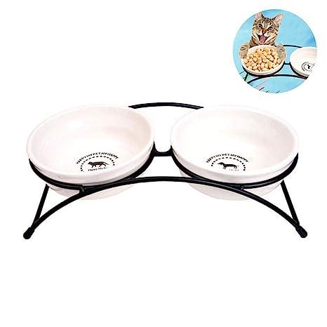 PAWACA - Cuencos de cerámica para Perro con Soporte de Hierro, ecológicos para Comida y