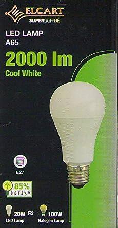 Bombilla LED, E27, 20 W=rendimiento de 100 W (aprox), color blanco frío, ahorro energético del 85%: Amazon.es: Iluminación