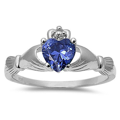 Simulated Tanzanite Irish Claddagh Heart Cubic Zirconia Ring .925 Sterling Silver Ring Size 7