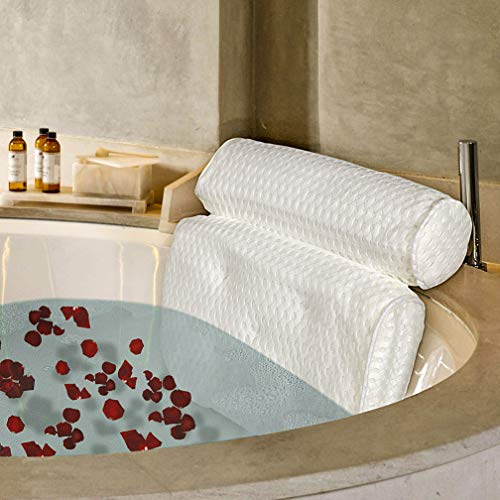 SPA Luxury Bathtub Pillow Big 4D Mesh Bath Pillow with 5 Suction Cups & Hang Hook Good Head Neck Back Support Quick Dry Anti-Mold