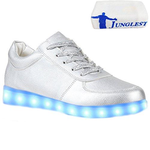 [Present:kleines Handtuch]JUNGLEST® Blinkende LED Herren Sneakers Low Mu Silber