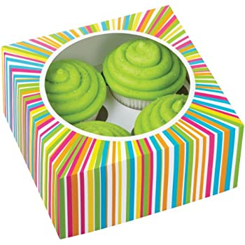 Wilton 415-0814 3/Pack 4 Cavity Color Wheel Cupcake Box