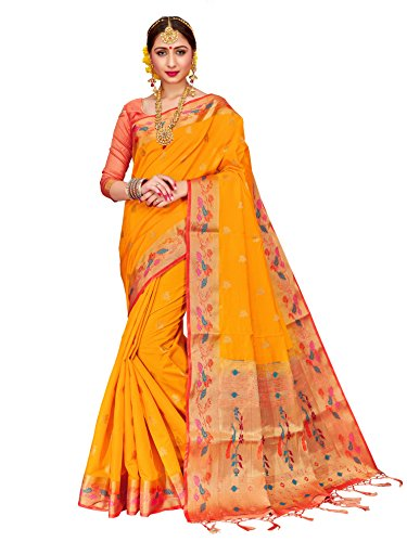 (ELINA FASHION Sarees for Women Banarasi Art Silk Woven Work Saree l Indian Wedding Traditional Wear Sari & Blouse Piece (Yellow))